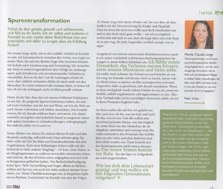 Artikel – Spurentransformation (Soulroots - Claudia Mareia Lange)